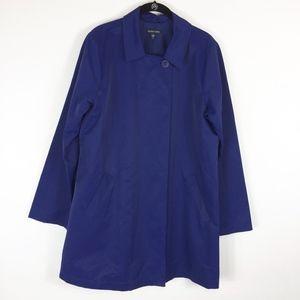 Eileen Fisher Raincoat Trench Jacket Medium Blue